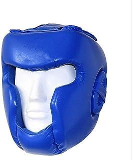 Couvre-Chef de Boxe Type fermé Complet Boxe MMA Kickboxing Head Gear Casque de Boxe Head Guard Sparring Muay Thai Kick Brace Protection de la tête (Couleur : Bleu, Taille : L)