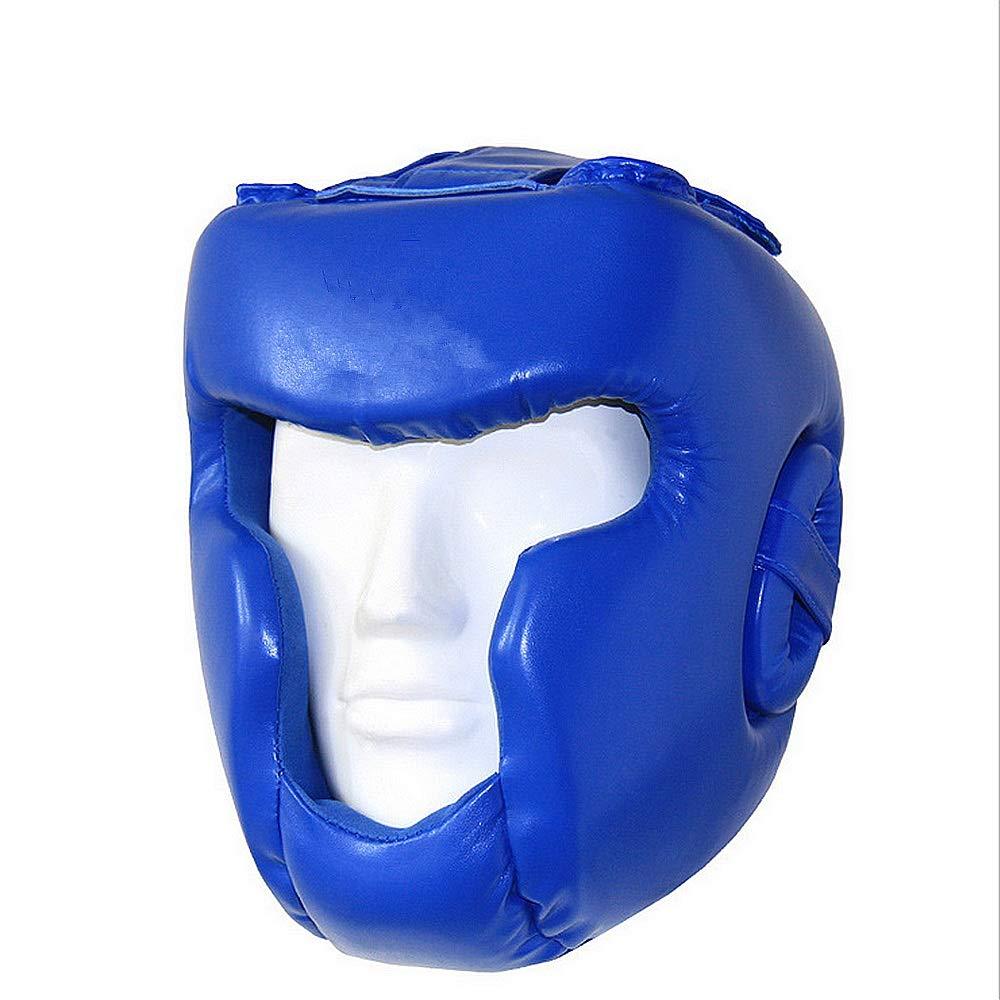 ボクシング ヘッドギア フルクローズドタイプボクシングヘルメットヘッドガードスパーリングムエイMMAキックボクシングヘッドギアボクシングタイキックブレースヘッド保護 (色 : 青, サイズ : S) 青 Small