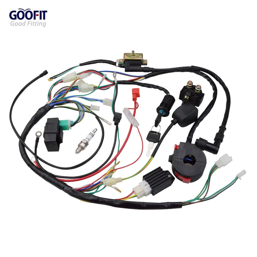 Goofit 50cc 125cc Full Electrics Wiring Harness Coil Rectifier CDI ATV Solenoid Spark Plug Quad Pit Dirt Bike Buggy Go Kart Kits H388-072