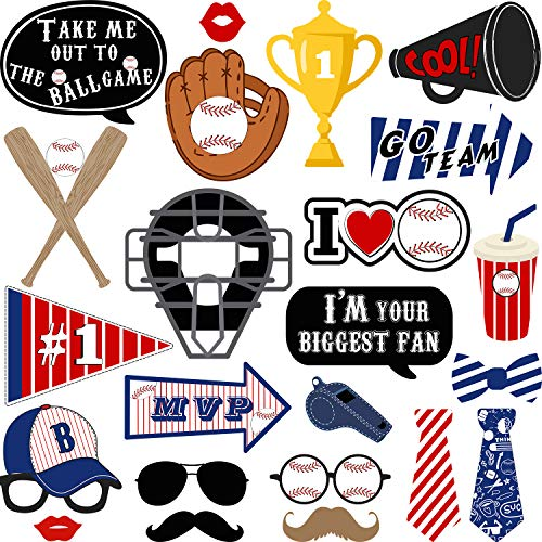 24 Pieces Baseball Photo Booth Props Kit Baseball Theme Party Birthday Party Supplies for Adults Kids ()