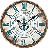 """Grazing 12"""" Vintage Roman Numeral Blue Anchor Design Shabby Chic Style Wooden Decorative Round Wall Clock (Anchor)"""