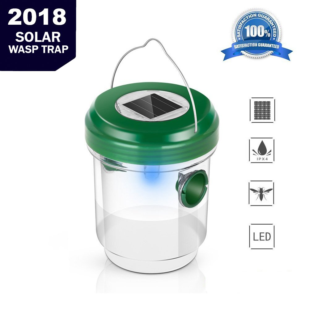 AKEfit Wasp Trap Catcher,Bee trap,Life Outdoor Solar Powered Fly Trap with Ultraviolet LED Light Waterproof for Trapping Bees, Hornets, Yellow Jackets, Bugs in Home Garden