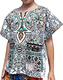 Raan Pah Muang Bright Kaftan Boubou Africa Short Sleeve Childs Unisex Shirt, 6-8 Years, White Black