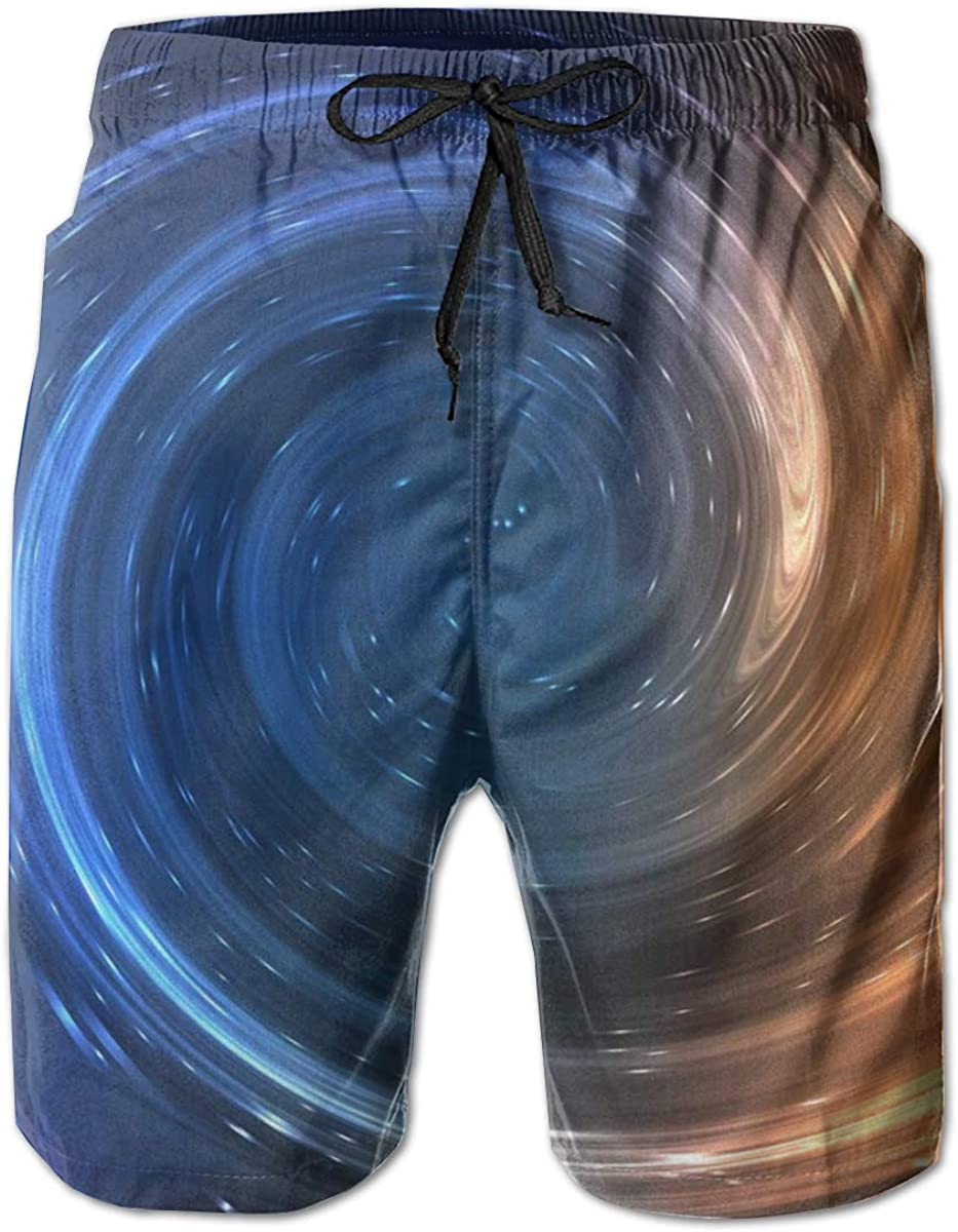 HZamora/_H Men Starry Swirling Blue and Yellow-4 Summer Breathable Quick-Drying Swim Trunks Beach Shorts Cargo Shorts