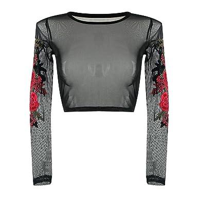 Shirt Manches Pour T Court Dentelle Femme En Sunenjoy À RjA54L