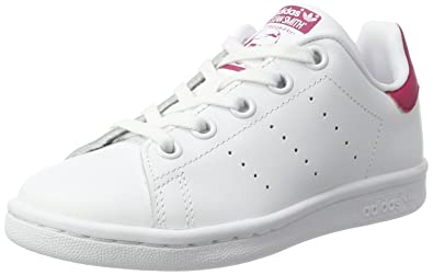 d969e28a0fc adidas Originals Boy's Stan Smith C Ftwwht/Ftwwht/Bopink Leather Sneakers - 13  Kids