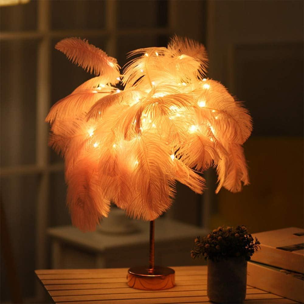 USB et batterie Lampe de table d/écorative en forme de plumes dautruche pour chambre denfant ou fille