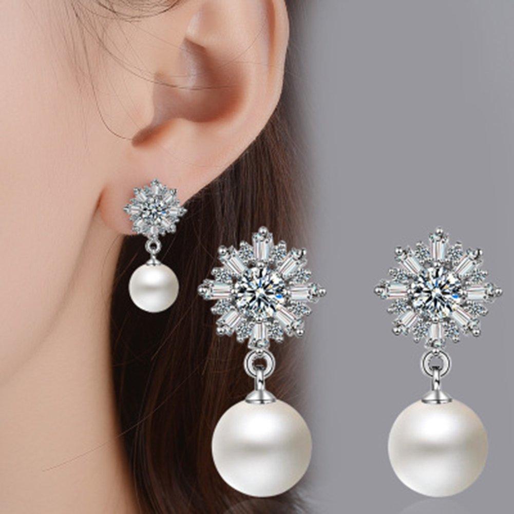 Hacoly Ladies Crystal Snowflake Pearl Orecchini Stud compleanno Valentine festa nuziale gioielli per donna ragazza