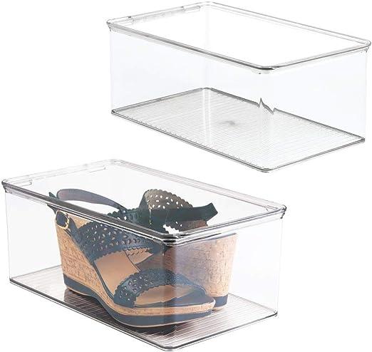 mDesign Juego de 2 cajas para zapatos con tapadera – Práctica caja ...