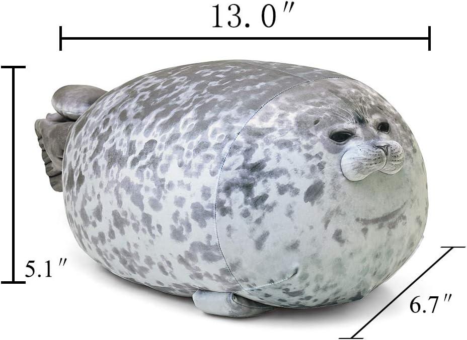 13.0 inch Length Rainlin Throw Pillows Blob Seal Pillow Plush Stuffed Animal Pet Toy Hugging Fuzzy Pillows Grey Small