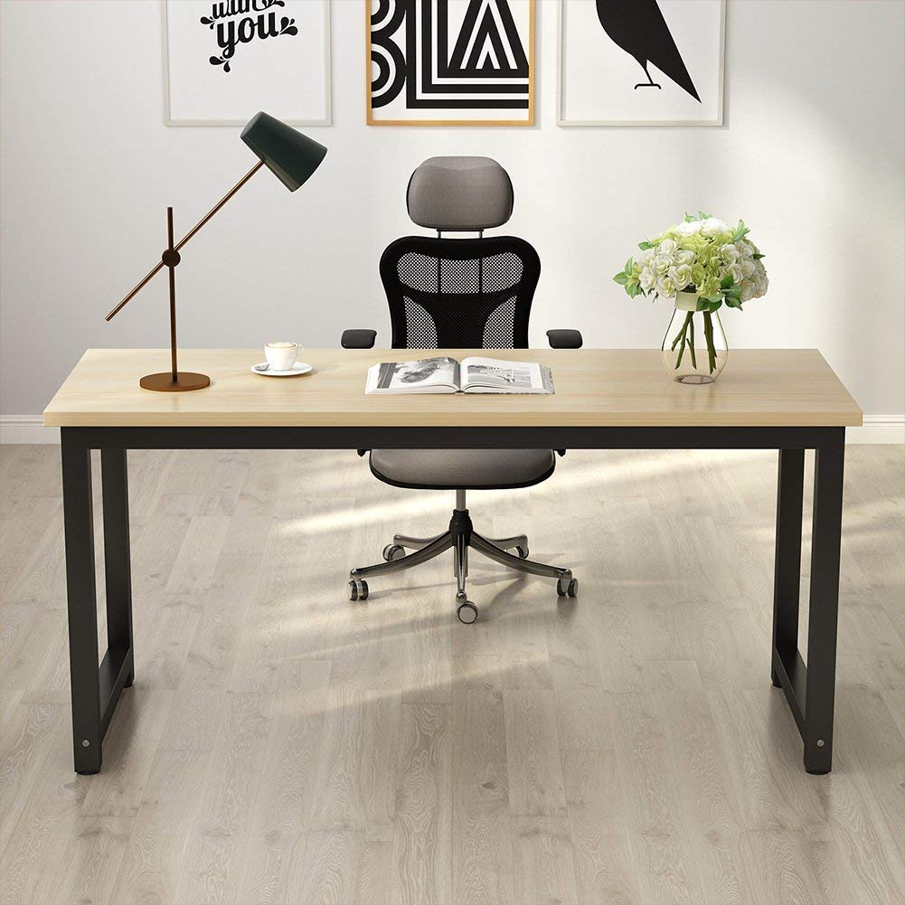 Tribesigns Computer Desk, 63 inch Large Office Desk Computer Table Study Writing Desk for Home Office, Walnut + Black Leg by Tribesigns