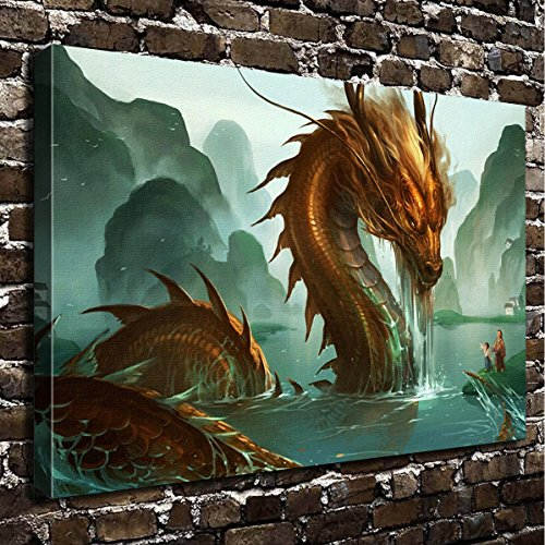 Dragon Art Prints - COLORSFORU Wall Art Painting Dragon Prints On Canvas The Picture Landscape Pictures Oil For Home Modern Decoration Print Decor For Living Room