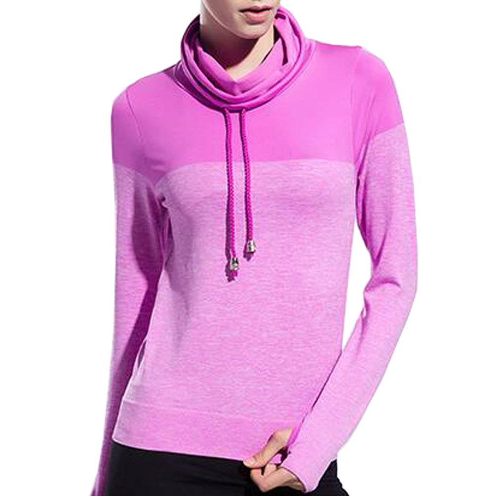 VOGUE CODE High Neck Quick Dry Running T-shirt High Elasticity Outwear Sweat Absorption T-shirt (M, purple) by VOGUE CODE