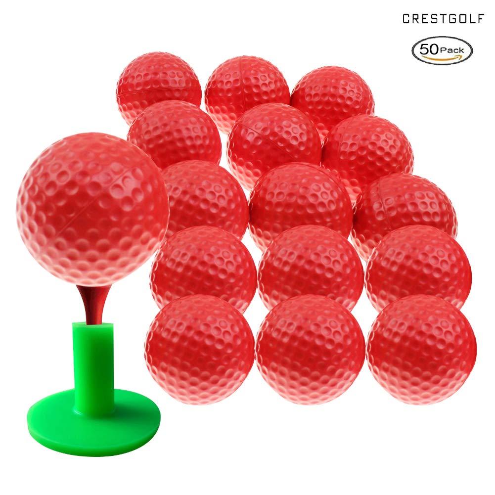 Crestgolf Foam Sponge Practice Golf Ball Soft Balls for Cats Kids 12/50 pcs per Bag (red 50pcs) by Crestgolf