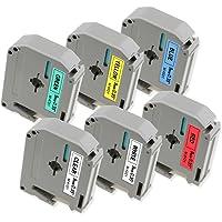 6x Ruban Brother P-touch M-K221 M-K121 M-K421 M-K521 M-K621 M-K721, 9 mm x 8 m, pour Etiqueteuse Brother P-touch PT-80, PT-65, PT-90, PT-M95, PT-70BM, PT-85, PT-45, PT-BB4