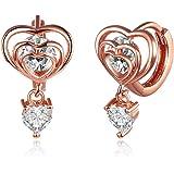 Yellow Chimes A5 Grade Crystal 18K Rose Gold Designer Heart in Heart Earrings for Women & Girls