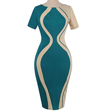 Lovely-Shop Elegant Women Dress Sexy Bodycon Patchwork Party Sheath Pencil Mini Dresses Vestidos,