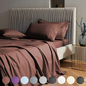 "SAKIAO Queen Size Bed Sheets Set - Brushed Microfiber 1800 Thread Count Percale - 16"" Deep Pocket Egyptian Sheets Beautiful Breathable Wrinkle Free & Fade Resistant - 4 Piece (Brown,Queen)"