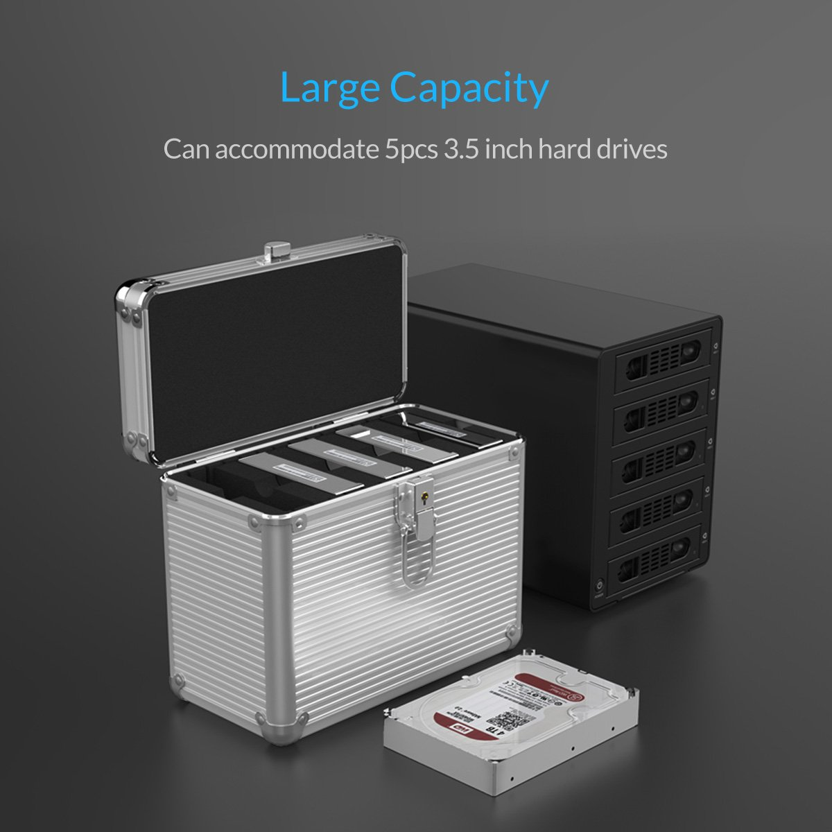 Orico Aluminum 35 Inch Hard Drive Protective 5 Bay 1bay Hdd Protection Case Ps35 Storage Box With Lock Moisture Proof Water Resistant Static Perfect For Media