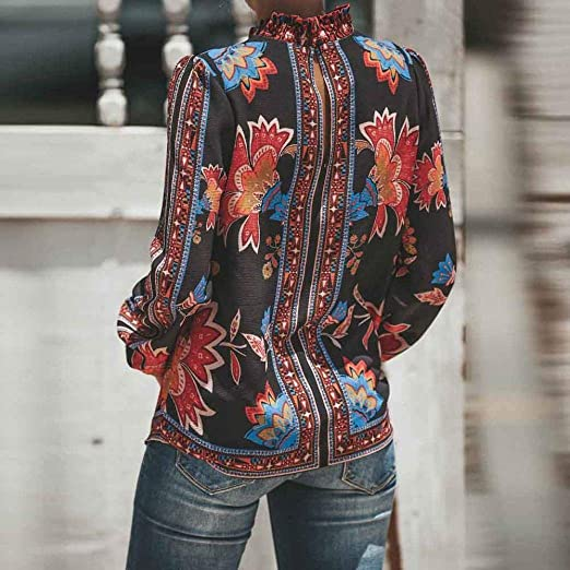 JiaMeng Mujer Casual Camiseta gasaTops Blusa, Moda Casual Estampado de Manga Larga Cuello Alto Gasa Camisa Blusa Tops Ropa Deportiva para Mujer: Amazon.es: ...