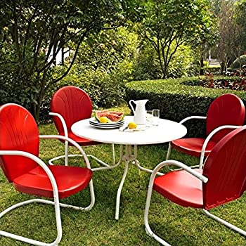 This Item Crosley Furniture Griffith 5 Piece Metal Outdoor Dining Set With  Table And Chairs   Coral Red
