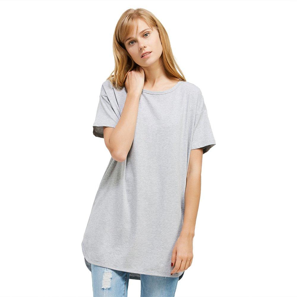 ZAN.STYLE Women's Plus Size Slub Cotton Tunic Tee Shirt Long T Shirt for Leggings Medium Style 1-Grey