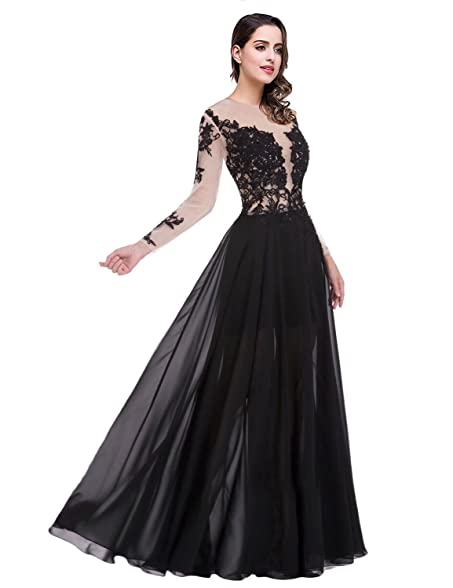 Womens Long Sleeve Lace Prom Dresses with Slit Evening Gowns Size 2 Black