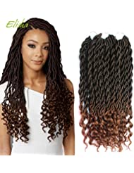 "Goddess Locs Faux Locs Crochet Hair Wavy Faux Locs with Curly Ends Synthetic Braiding Hair Extension 3Pcs/Lot (20"",#1B/30 Color) Elisha"