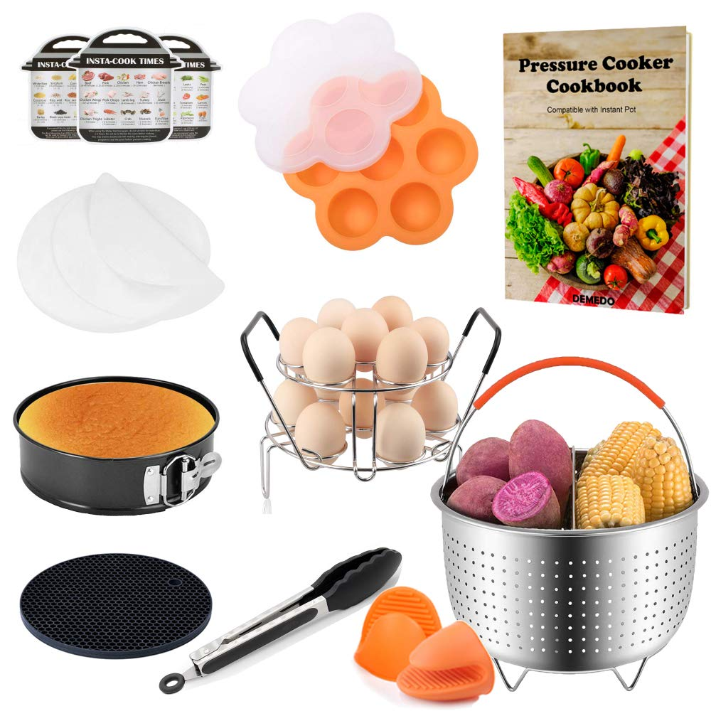 Accessories for 6 QT Instant Pot with Recipe Cookbook, Fit for Instant Pot 6,8 QT or Other Electric Pressure Cookers, Separable Steamer Basket, Springform Pan, Egg Bite Mold, and others Total 10 Pcs