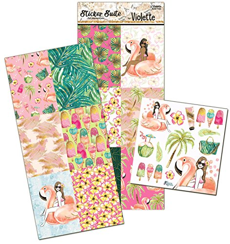 (Violette Stickers Tropical Pool Planner Suite - 3 sheets)