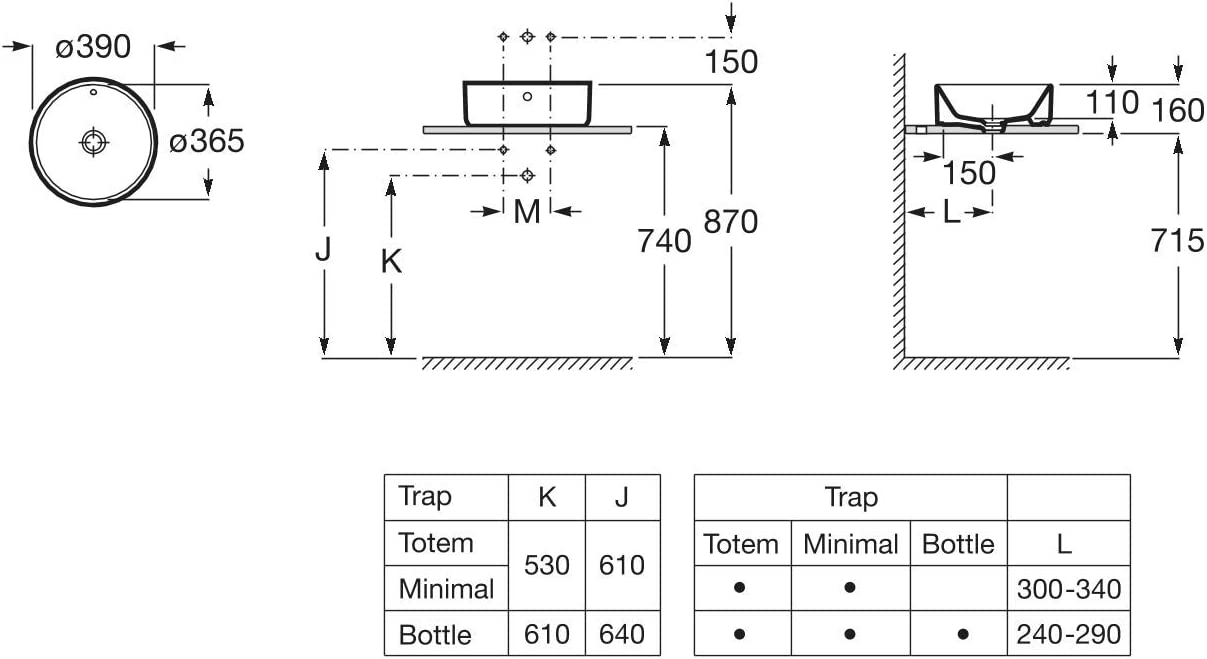 Roca A3270MJ000 Alter Lavabo rond sur plan de travail blanc 390 x 130 mm
