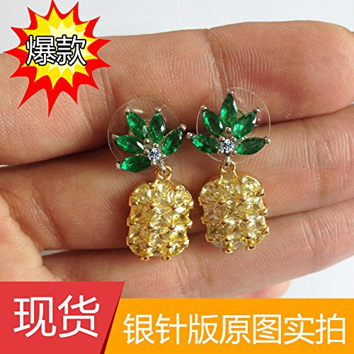 TKHNE counters same paragraph insert needles pineearrings earrings s925 flash zirconium gold plating women girls personality -