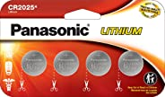 Panasonic CR2025 3.0 Volt Long Lasting Lithium Coin Cell Batteries in Child Resistant, Standards Based Packaging, 4 Pack