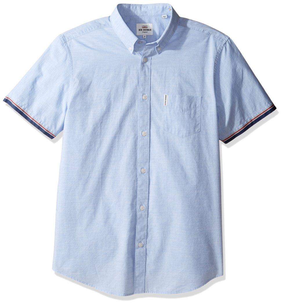 Ben Sherman Men's Short Sleeve Marl TIPP, Summer Sky Marl, Medium