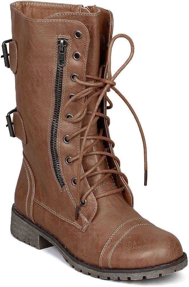 Nature Breeze Women Zipper Round Toe Military Lace Up Boot AC21 - Tan Leatherette
