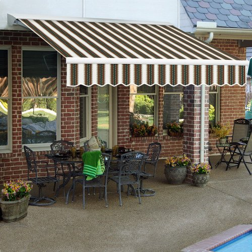 Awntech 8-Feet Destin LX with Hood Right Motor/Remote Retractable Awning, 84-Inch Projection, Burgundy/Forest Green/Tan/Multi ()