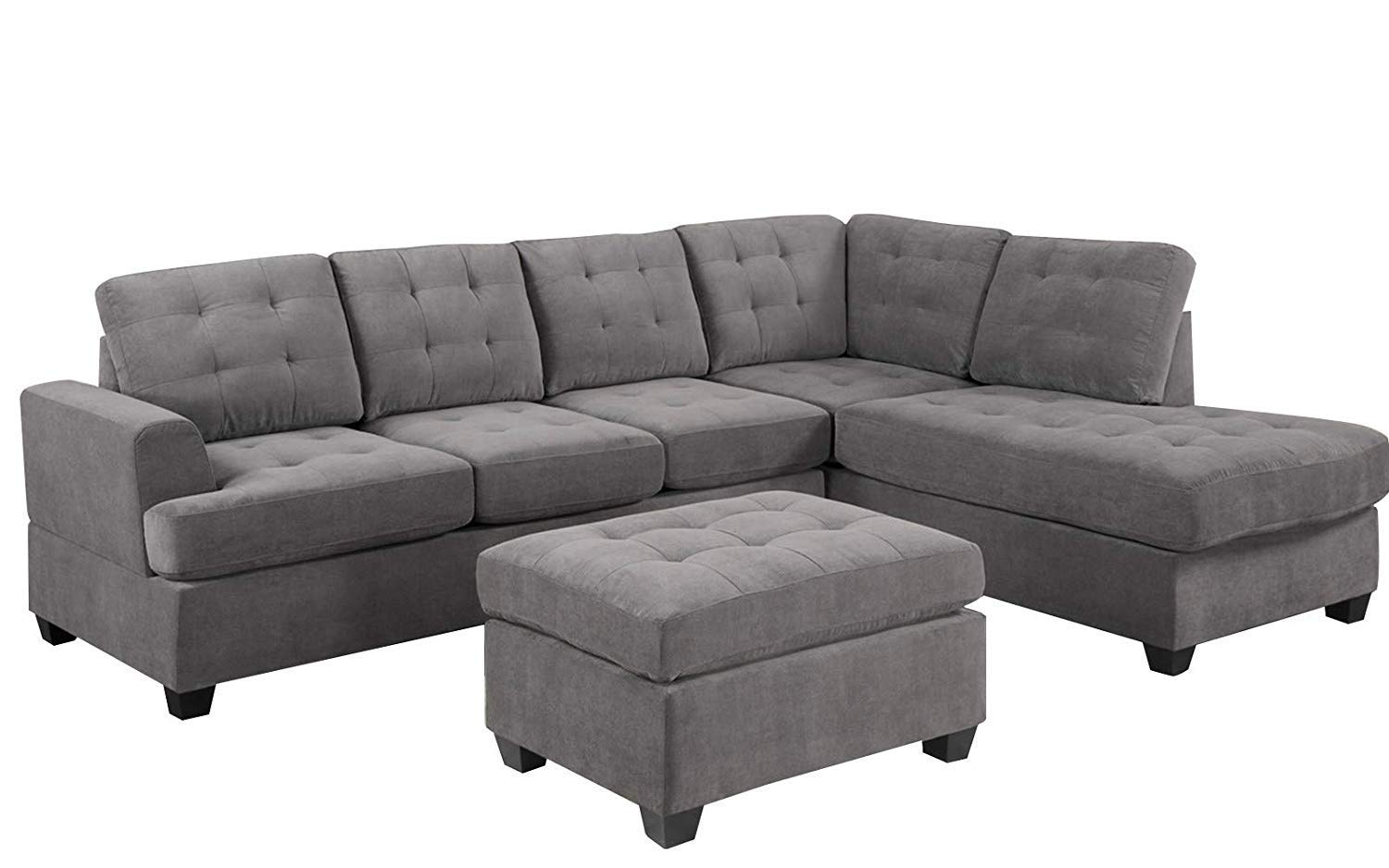 MOOSENG, 3-Piece Sectional Set with Chaise Lounge and Ottoman Mid Century Modern Living Room Furniture Sofas, Cool Gray by MOOSENG