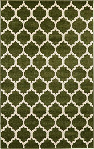 (Unique Loom Trellis Collection Moroccan Lattice Dark Green Area Rug (5' 0 x 8' 0))