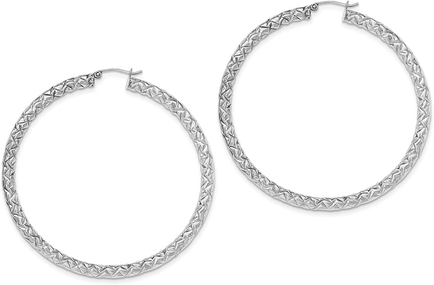 925 Sterling Silver Rhodium-plated Textured Round Hoop Earrings 4mm x 67mm