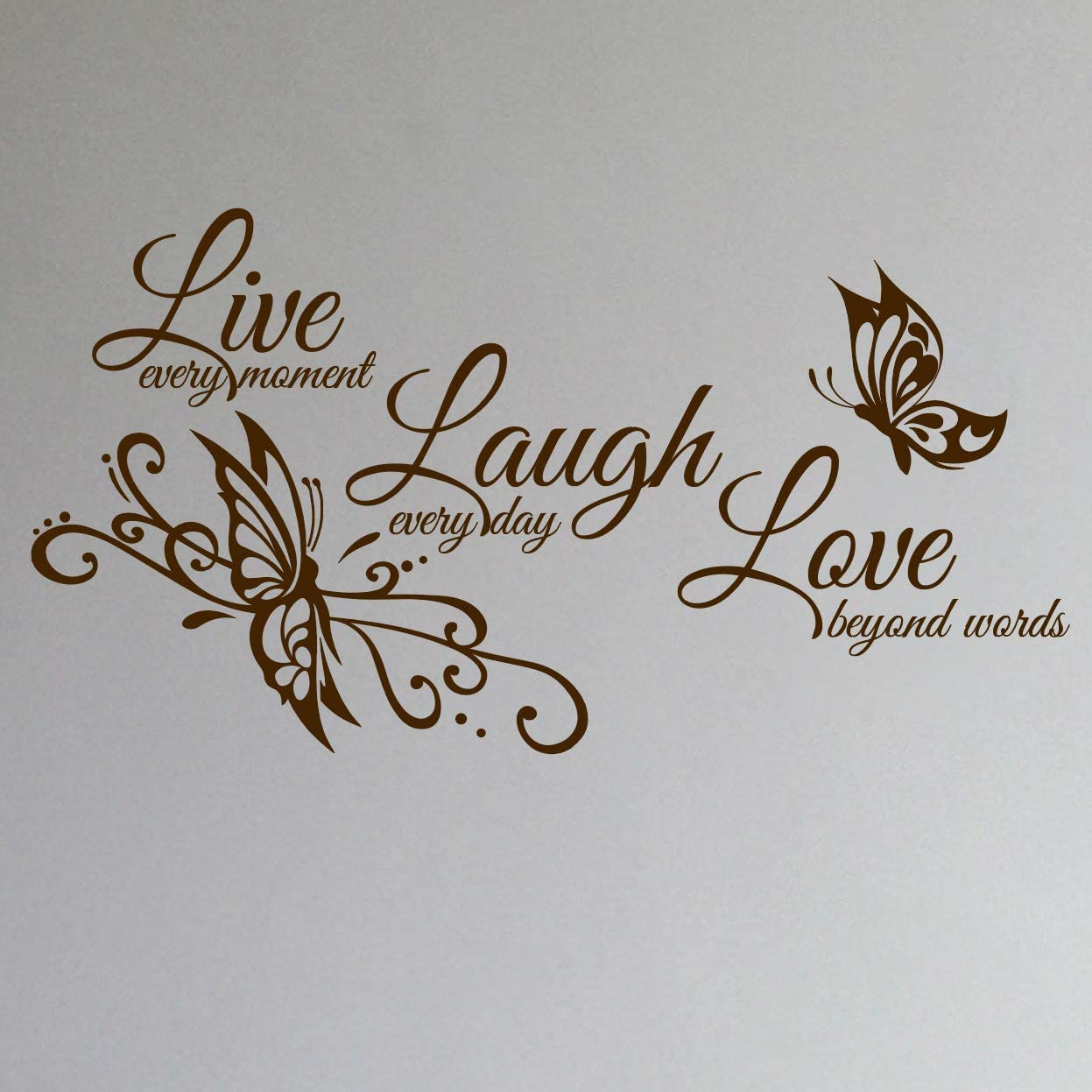 "Innovative Stencils Live Love Laugh Family Wall Decor Decal Art Sticker 24"" Wide x 12"" high #1468 (Matte Brown)"