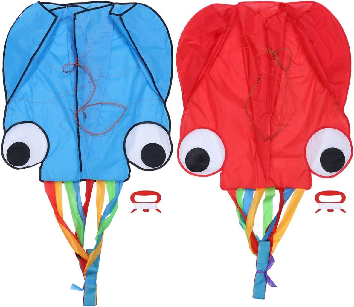 STOBOK Kit de Cometas de 2 Piezas Colores Pulpo Cometa Juguetes 28. 3 Pulgadas de Ancho Cometa Arcoiris para Niños Adultos Actividades Al Aire Libre