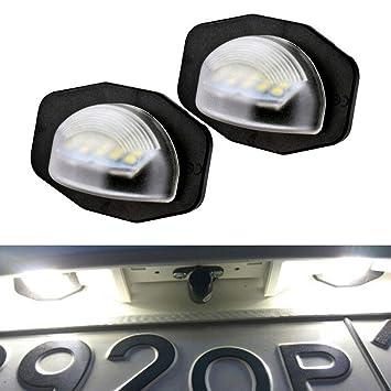 YUGUIYUN Luces de matrícula LED de iluminacion 18 LED SMD Error Free Xenon Blanco Bombilla de