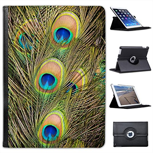 Peacock Feathers For Apple iPad Air 2 [2014 Version] Faux Leather Folio Presenter Case Cover Bag with Stand (Peacock Fancy Apples)
