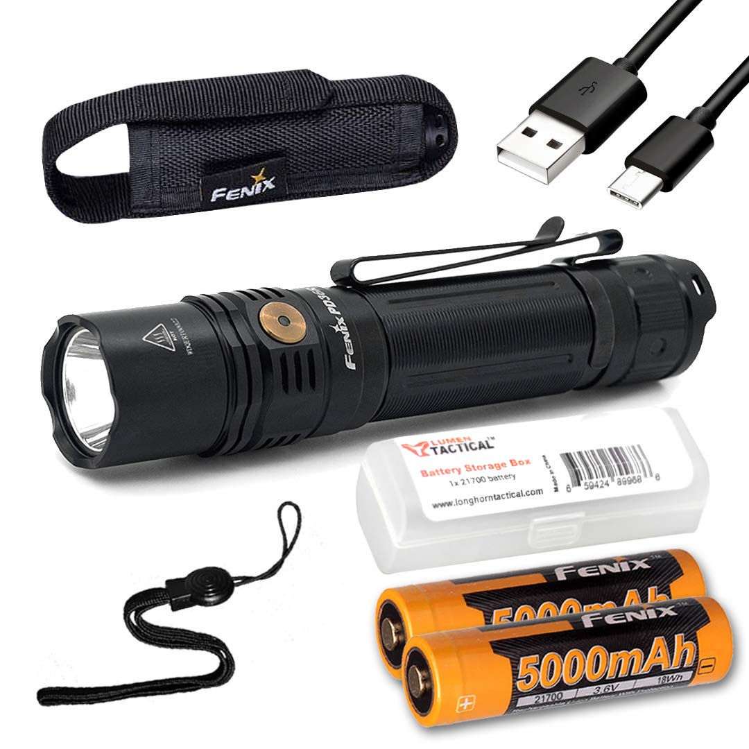 Fenix PD36R 1600 Lumen Type-C USB Rechargeable EDC Tactical Flashlight with 2X Fenix Batteries and LumenTac Battery Organizer by Fenix Flashlights