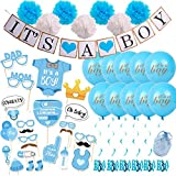 Baby Shower Decorations for Boy Set Blue White Gold Theme, IT'S a BOY Banner, Tissue Paper Flowers, Balloons with String, Photo Booth Props, Swirls Party Decorations All in One Bundle