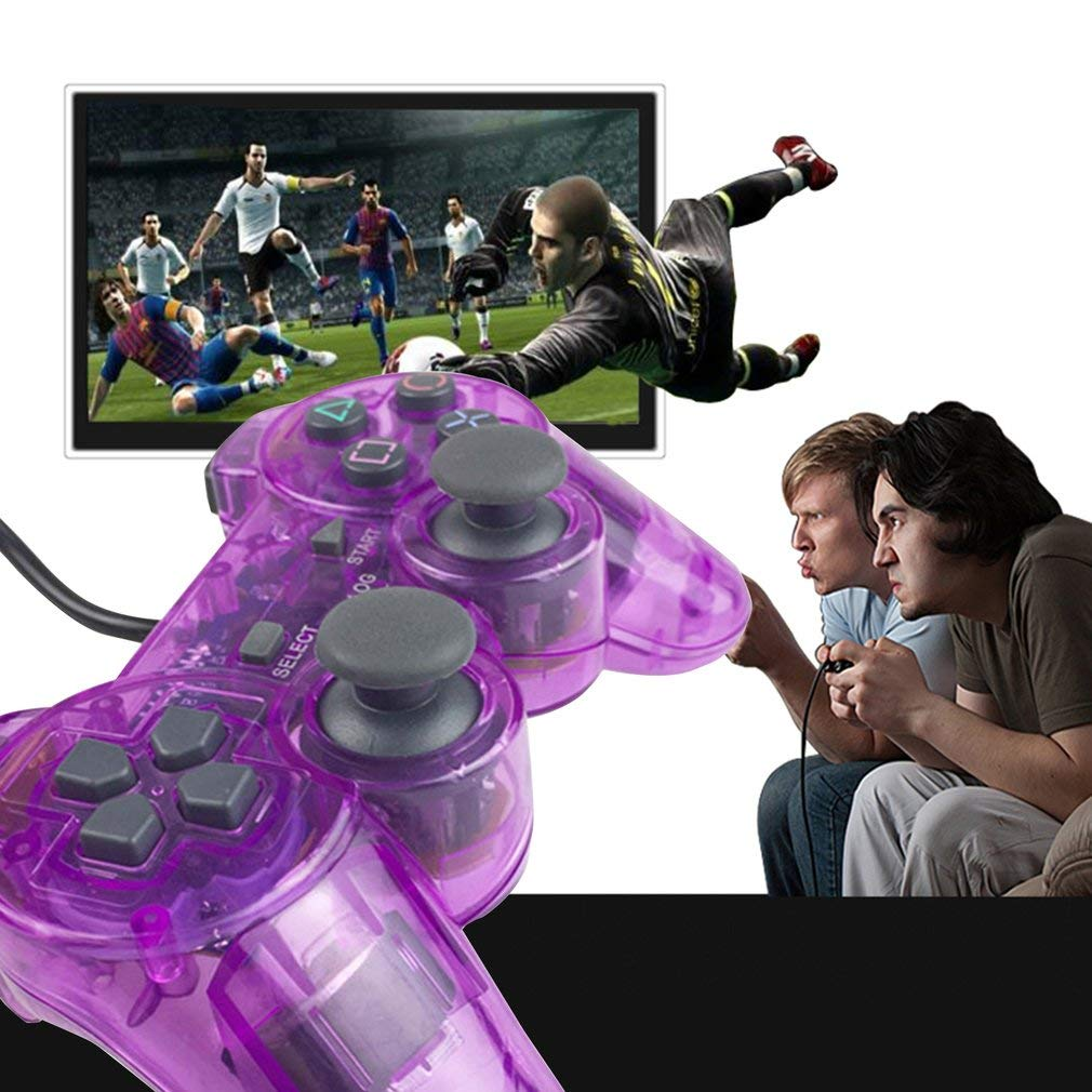 Kitechildhood Wired Gamepad for Sony PS2 Controller Joystick for plasystation 2 Controle Transparent Purple