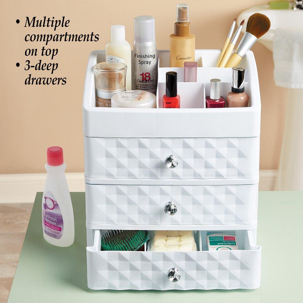 Amazon Com Drawer Makeup Storage Organizer For Desk Dresser Bathroom Countertop White Beauty