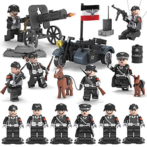 Army Minifigures Set - WW2 German Imperial Soldiers - 6 German Army Men with Military Weapons Accessories Building Bricks Model 100% Compatible