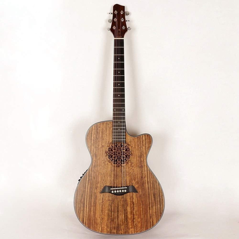 LOIKHGV Guitarras- Guitarra acústica eléctrica con Tapa de Madera de Abeto con Agujero de Sonido y Guitarra Folk de 40 Pulgadas para Principiantes o de Nivel Medio, Modelo de 1,40 Pulgadas