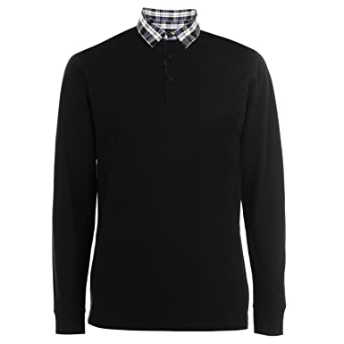 Pierre Cardin Mens Smart Casual Checked Collar Long Sleeve Polo